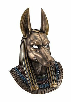 "14.5"" Egyptian God Anubis Bust Wall Plaque Egypt Decor Statue Sculpture Figure"
