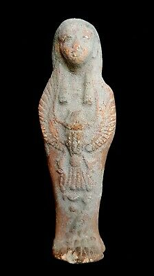 Fantastic Ushabti Sculpture Egyptian Antique Shawabti W/T Winged Scarab Figurine