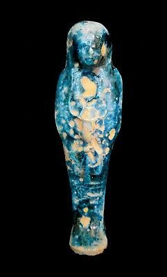 Blue Ushabti Sculpture Very Unique Antiquities Shabti Statuette Ancient Faience