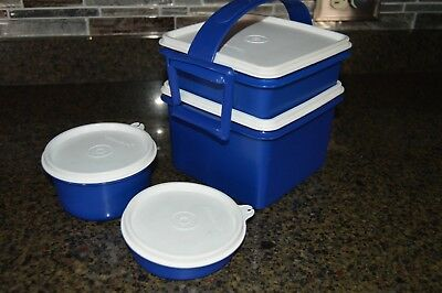 Tupperware Blue & White Square Container w/ Sandwich Keeper, Bowls, and Lids