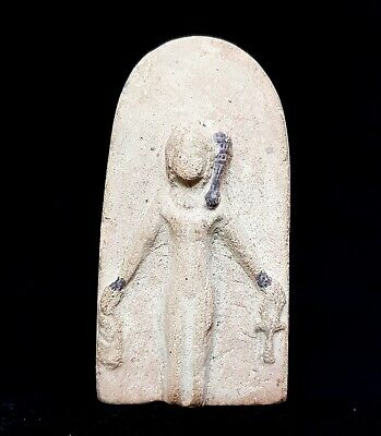 Egyptian Antique Beautiful Woman Holding Ankh Relief Wall Plaque Stela Stone