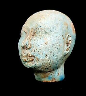 Blue Egyptian Antique Head Bust Ancient Egypt Hieroglyphic Statue Rare Faience