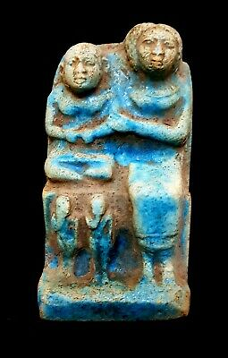 Motherhood Scene Rare Egyptian Antique Relief Plaque Wall Rare Ancient Stone