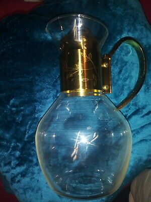 Princess House  # 447 Replacement Brass & Crystal Carafe & Cover Only Heritage