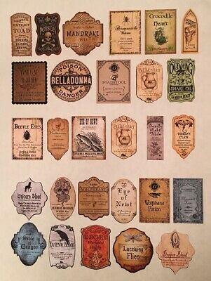 """28 Stickers 1.5"""" Tall Halloween Witch Potion Bottle Label Apothecary Eye Of Newt"""