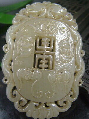 Chinese Antique Celadon Nephrite Hetian-OLD Jade blessing Statues/Pendant 663