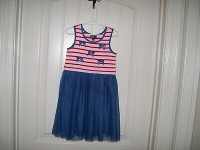 Lilt Girls Navy, Red & White Striped Americana  Tulle Dress Size 6 Retail $40