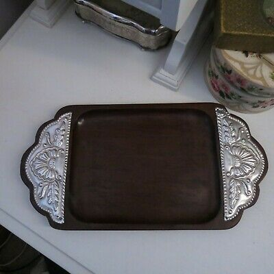 Vintage small teak & sterling silver tray