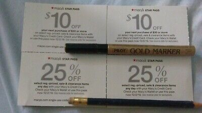 2 $10 Off $30 / More & Two 25% Off When You Use Macy's Credit Card Coupons 12/2