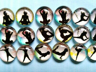 26 Pieces Of 12mm Glass Cabochons Yoga DIY Jewelry Accessories #12#