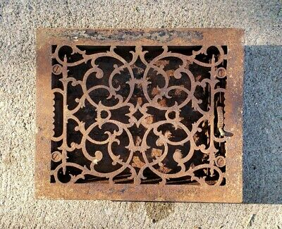 Antique Ornate Primitive Cast Iron Heat Grate Floor Vent Register