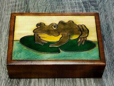 Green Frog Hand Carved Wooden Hinged Trinket Desk Box Made In Poland