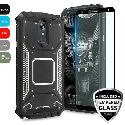 For LG K40/Solo LTE Metal Plate Magnetic Support Hard Case+Black Tempered Glass