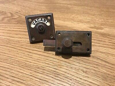 vintage toilet door lock used will clean up excellent and complete
