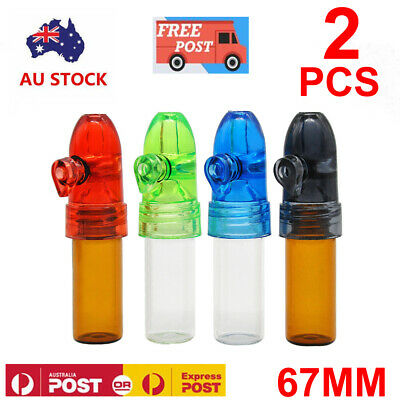 2x Acrylic Plastic Snuff Bullet Snuffer Dispenser Glass Vial Rocket Snorter Tube