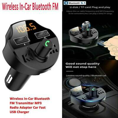 Wireless Bluetooth 5.1 FM Transmitter MP3 Radio Adapter Car Kit Fast USB Charger