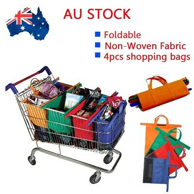 NEW Set of 4 Reusable Shopping Trolley Bags foldable Eco-Friendly Supermarket