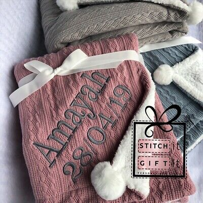 PERSONALISED BABY CABLE KNIT BLANKET -NAME EMBROIDERED pom pom/sherpa reverse