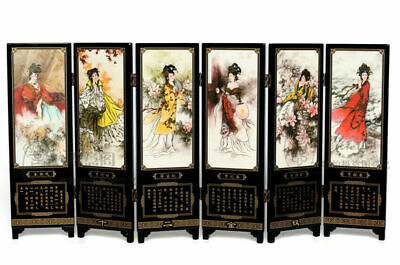 Chinese Lacquer Handwork Painting Jinling 12 Hairpins Screen Decoration