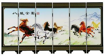 Chinese Lacquer Handwork Painting Eight Horse Screen Decoration