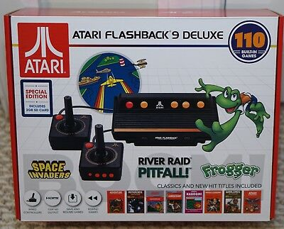 NEW ATARI FLASHBACK 9 DELUXE GAME CONSOLE 110 BUILT-IN GAMES with Bonus SD Card