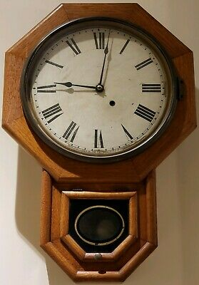 Antique SETH THOMAS Oak Octagon Drop School House Regulator Wall Clock c.1900