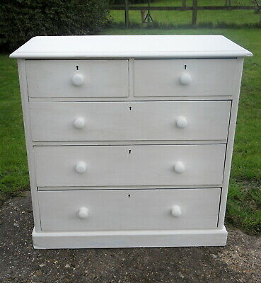 An old barn find antique pine Victorian chest of drawers rough painted white