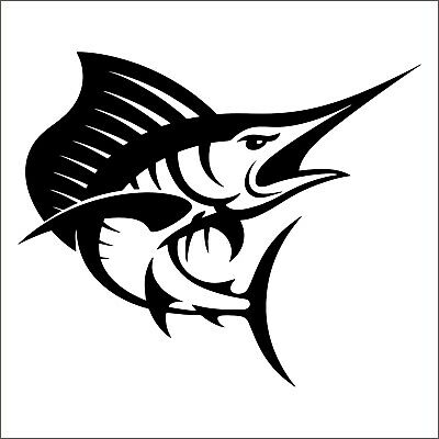 adesivo prespaziato BLUE MARLIN pesce spada pre-spaced sticker