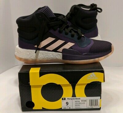 Adidas Marquee Boost Black Purple High Top Basketball Shoes [G27739] Mens Size 9