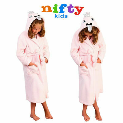 Nifty Kids 3D Hooded Swan Robe Girls Pink Fleece Novelty Animal Dressing Gown