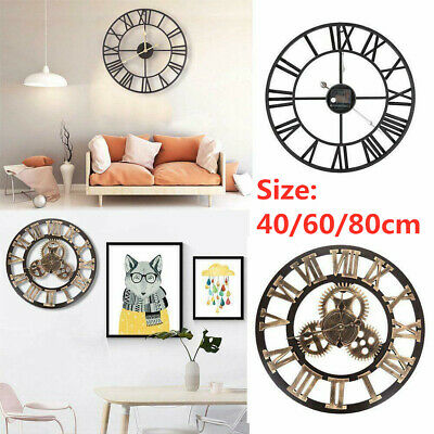 Extra Large Roman Numerals Skeleton Wall Clock Big Open Face Round 40/60/80Cm