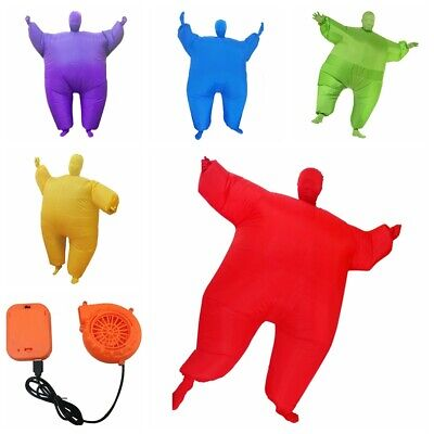 Inflatable Fat Chub Masked Suit Blow Up Fancy Dress Costume Fan Operated Outfit