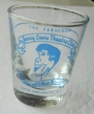 Jerry Lewis / Brown's Hotel Caricature Shot Glass Catskills Loch Sheldrake NY