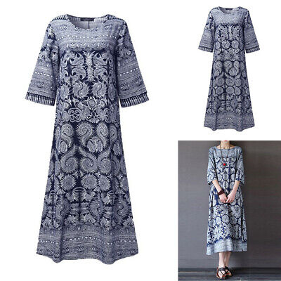 Women Peasant Ethnic Floral Boho Loose Top Tunic Mexican Gypsy Long Maxi Dress