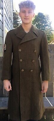 WWII US Army Military Wool Overcoat Long Wool Winter Coat Size 36 Regular