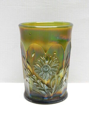"Antique Northwood Green Carnival Glass ""Dandelion"" Tumbler"