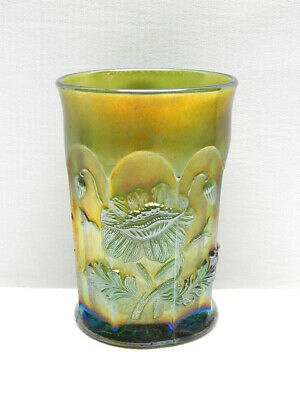 "Antique Northwood Green Carnival Glass ""Oriental Poppy"" Tumbler   #1"
