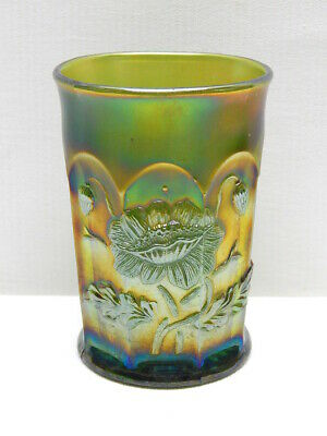 "Antique Northwood Green Carnival Glass ""Oriental Poppy"" Tumbler   #2"