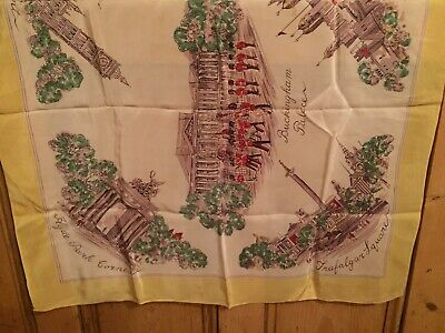 Vintage Ladies Scarf Bucking Palace Hyde Park Trafalgar Sq Scenes Of London