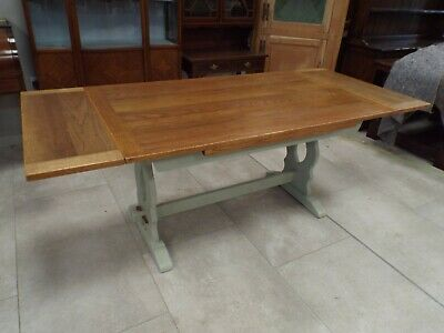 Quality Oak Painted Shabby Chic Extending Refectory Dining Table ref5425