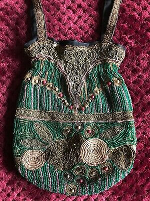 Remarkable ART DECO PURSE Hand Embroidered metallic threads, wood & glass beads