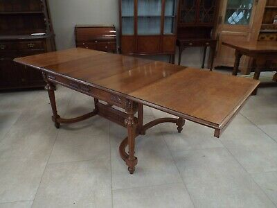 Large French Antique Oak Extending Dining Table 100''