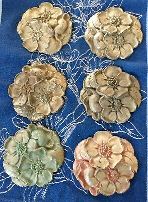 Set of 6 Antique Cast Iron Floral Curtain Tie Backs Early 1900's-Waverly Studios