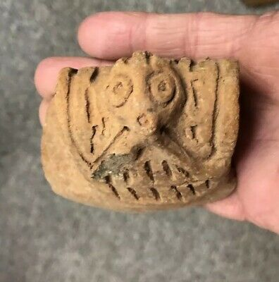 Ancient Precolumbian TAINO INDIAN Pottery Shard with Face 700 AD