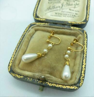 Quality Art Deco 1920/30's 9ct Gold Pearl Drop Earrings