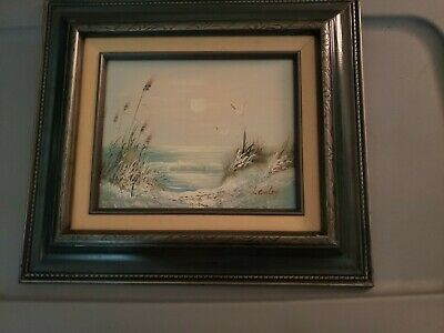 Set Vintage Framed Oil Canvas Painting Of Beach Landscape Scene Signed H. Gailey
