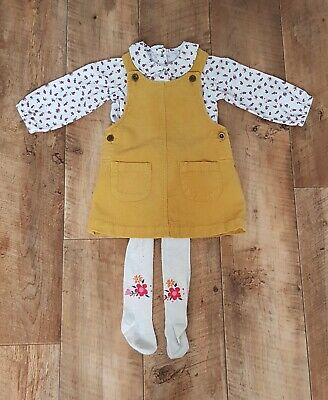 Girls Cute  MINI CLUB Yellow Cord Pinafore Dress/Tights MOTHERCARE Blouse...