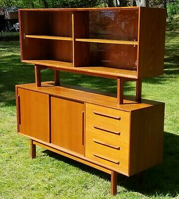Mid-Century Modern Danish Credenza with matching floating hutch