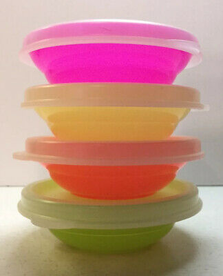 Tupperware TUPPERTOY Kids Mini Wonderlier Cereal Bowls w/Seals; Neon Set Of 4