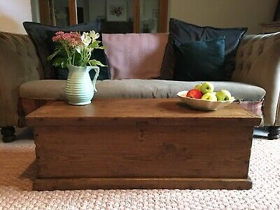 Old ANTIQUE SMALL PINE CHEST, Wooden Blanket TRUNK, Coffee TABLE Box
